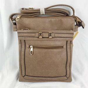 Handbags - NWT Tan Cross Body Purse with Gold Embellishments